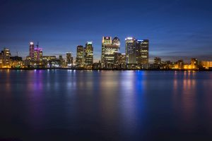 Header image - canary wharf at night
