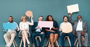 employees with speech bubbles
