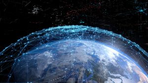 Global communication network concept. Elements of this image furnished by NASA. 3D rendering.